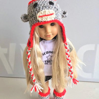 "American Girl - Sock Monkey - Crochet Sock Monkey - Doll Set - American girl Hat - Crochet Character set for 18"" fashion doll - Sock Monkey"