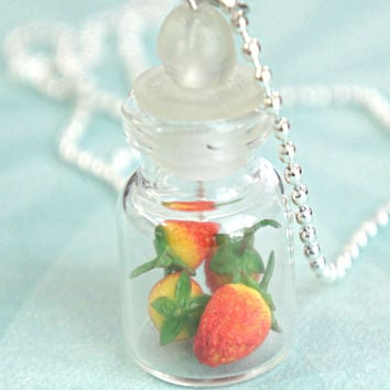strawberries in a jar necklace