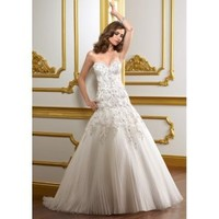 Organza Sweetheart A-Line Gown and Pleated Skirt with Chapel Train 2012 Strapless Wedding Dress - Basadress.com