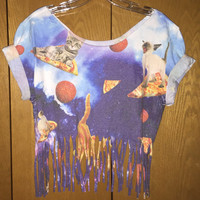 Cats Pizza and Space hippie boho fringe festival shirt sz medium/large