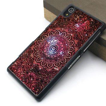 mandala sony case,cool flower sony cover,mandala sony Z3 case,art flower sony Z2 case,metal flower sony Z1 cover,big flower sony case,beatuiful flower sony Z case