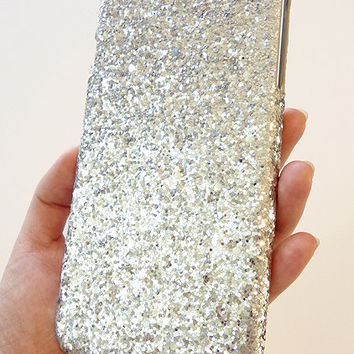 "For Apple iPhone 6 Plus 5.5"" Silver Specks Sequin Cluster Cell Phone Bling Hard Case Cover"