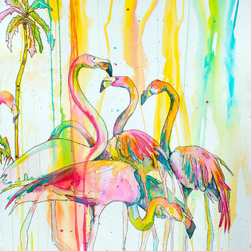 Victoria Flamingos-Art by Jen Callahan Tile,Cuttingboard,Paper Print