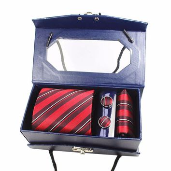 GUSLESON Men's Luxury Silk Tie Set With Hanky & Cufflinks-Gift Boxed
