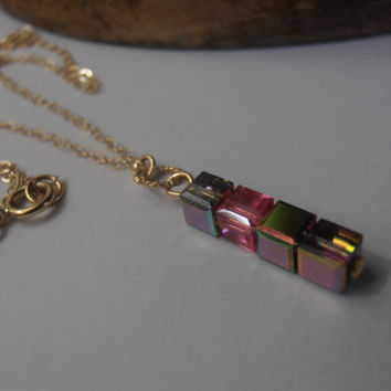 Minimalist Swarovski Medium Vitrail/Rose Cube Beads Necklace 14/20Kt Gold Filled Pendant for everyday minimalist wear