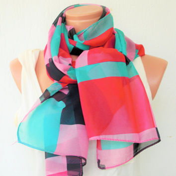 Women Scarf - Summer Scarf - Geometric design Scarf Gift for her , Gift for Women ,  Boho Scarf-Fabric Scarf-Accessories