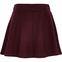 DARK RED PANELLED SKATER SKIRT