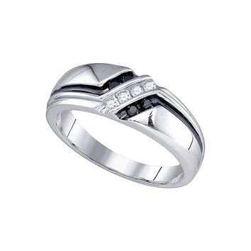 10kt White Gold Mens Round Black Colored Diamond Band Ring 1/5 Cttw
