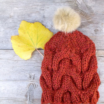 c10dd9734a1 Slouchy Cable Knit Beanie Hat in Pumpkin Spice Orange with Tan Faux Fur Pom  Pom