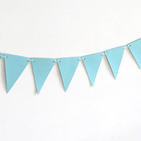 Pastel Blue Banner, Paper Bunting Banner, Seafoam Party Streamer, Mint Home Decor, Simple Modern Decoration, Boy Nursery