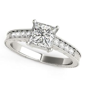 14K White Gold Antique Style Pronged Princess Cut Diamond Engagement Ring (1  1 8 f8bdc9ab99