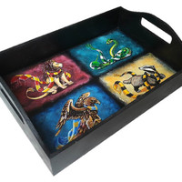 Wood Tray Harry Potter Hogwarts The Coat Of Arms Emblem Hand Painted Gryffindor Slytherin Hufflepuff Ravenclaw Wizard World Art Rowling gift