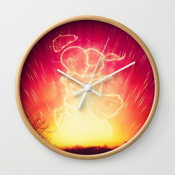 Cosmo + Celeste ( Colorful Cosmological Night Sky Couple in Love ) Wall Clock by Badbugs_art