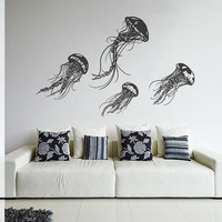 Wall Decal Vinyl Sticker Decals Art Decor Design Jellyfish Sea Ocean Deep Water Fish Scuba Bedroom Living Room Bathroom (r264)