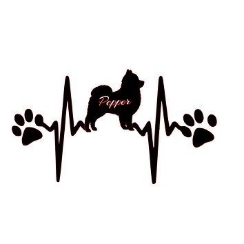 Custom Dog Breed Heartbeat with Paw Prints I love my dog Vinyl Decal Sticker