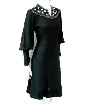 Jeanne Lanvin Dress Black Crepe with Beaded Comets