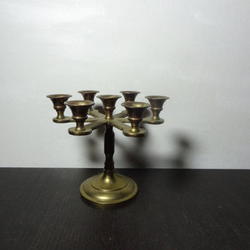 Vintage Small Brass Round Candelabra with 7 Candle Holders - for Small Taper Candles