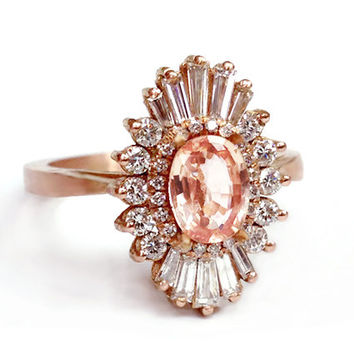Art Deco Oval Engagement Ring - Morganite and diamonds, white sapphires - sunburst, Gatsby - engagement, wedding, anniversary, cocktail