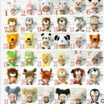 Promotion ! New WINTER Cartoon Animal Hat Fluffy Plush Cap Unisex best Novelty gift for boy girl friend With Ear Flap