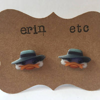 Handmade Plastic Fandom Earrings - Cartoon - Darkwing Duck