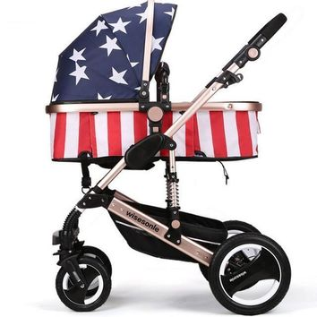 Luxury Newborn Baby Foldable Anti-shock High View Carriage Infant Stroller Pushchair - American Flag