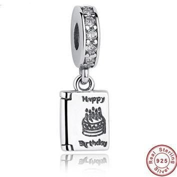 Authentic 925 Sterling Silver Happy Birthday Cake Wishes Dangle Clear CZ Charm Fit PAN