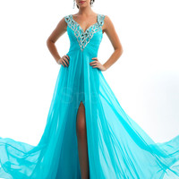 WowDresses — Charming Blue A-line V-neck Neckline Sweep Train Split Prom Dress