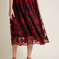 Embracing Embroidery Floral Midi Skirt