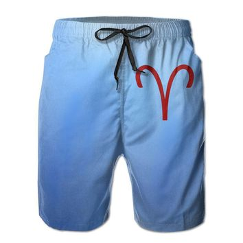 Aries Symbol Zodiac Homestuck Mens Fashion Casual Beach Shorts