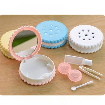 Cartoon Cookies Glasses Double Contact Lenses Box Case For Eyes Care Kit Holder Container Gift 1 pc Fashion Eyewear Accessories