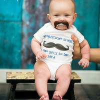 Mustache Outfit My Mustache Brings All the Girls to the Yard Newborn Baby Boy Baby Shower Gift Take Home Outfit Coming Home Outfit