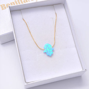 Opal Hamsa Necklace, Hamsa Choker Necklace, Hand Choker, Gold Hamsa Necklace, Blue Opal Necklace, Turquoise Choker, Hand of Fatima Necklace