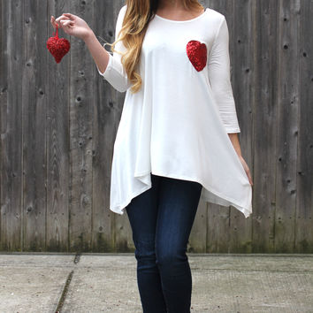 3/4 Sleeve Top with Sequin Heart