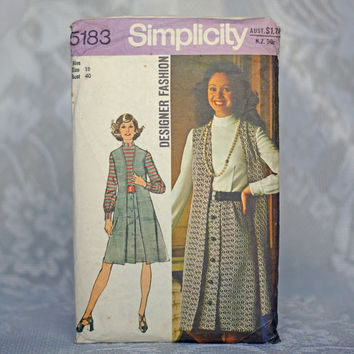 1970s Designer Fashion Sewing Pattern Dress & Vest Vintage Simplicity 5183 Size 18 Large Belted Dress High Waisted with Long Waistcoat