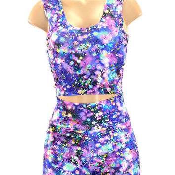 Purple Rain Metallic Holographic Crop Top & High Waist Shorts Set Festival Clubwear  -150478