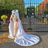 White Bridal cape 96 inch White Satin with Fur by capeandcrown13