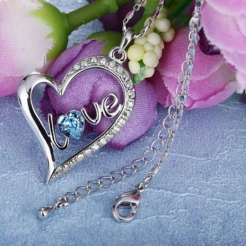 Swarovski Elements Blue Heart Shaped Pendant Necklace in 14K White Gold