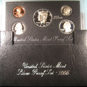 Proof Coin Set, 1995 US Proof Coins, JFK Silver Half Dollar, Coin, Kennedy Silver Proof Coin Set Proof Silver Coins Kennedy Silver Proof