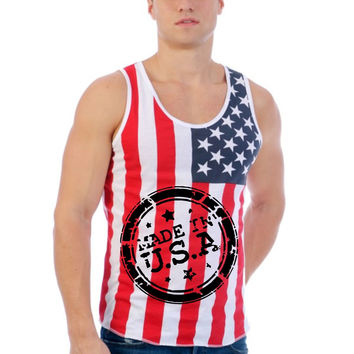 Made in USA American flag shirt Men's Jersy Tanktop