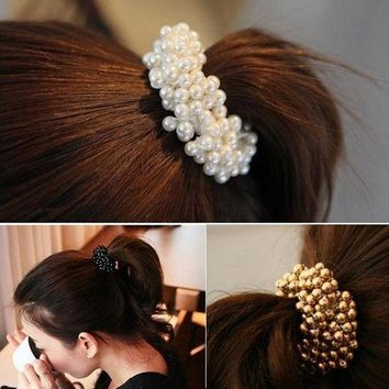 DCCKLW8 Korean Style Women Hair Accessories Circle Pearls Beads Headbands Gum for Hair Scrunchie Ponytail Elastic Hair Band