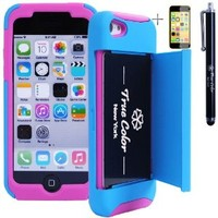 Rugged High Impact Credit Card Holder Wallet Soft + Hard Hybrid Combo Case Cover for Apple iPhone 5c + Stylus + Screen Protector - Blue & Hot Pink
