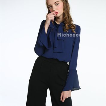 2017 new summer shawl collar solid loose casual long sleeved shirt blouses are all-match students