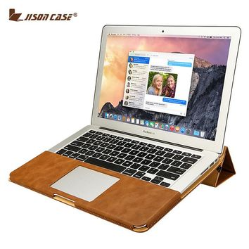 Jisoncase Leather Stand Cover Case For MacBook Air Pro Retina 11 12 13 15 inch Sleeve Luxury Leisure Laptop Bags & Cases PU