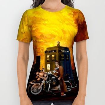 10th Doctor who with Big Motorcycle All Over Print Shirt by Three Second