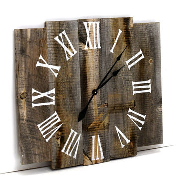 "Large Reclaimed Barn Wood Clock  Rustic Wood Wall Clock  28"" Wood Clock"