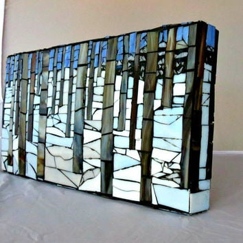 Stained Glass Mosaic/ Aspen Trees/ Snow/ Landscape
