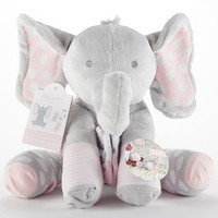 Baby Aspen BA15185NA Lilly the Elephant Plush Plus with Socks for Baby