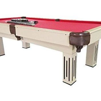 By PoolCentral 8' x 4.3' Beige Brown and Red Billiard and Pool Game Table