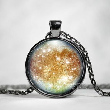 Europa Jupiter Moon Necklace Pendant Jewelry Space, Galaxy, Celestial, Solar System,Pastel