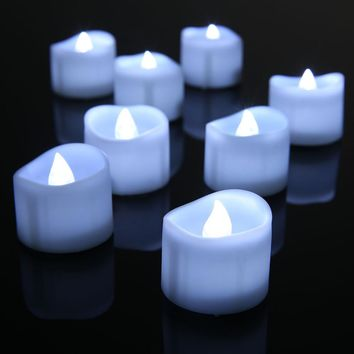 12 pcs/lot Flameless Candle Lamp Electronic Cold Cool White Candele LED Tealight Home Dinner Room Party Decor Votive Velas Boda